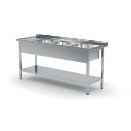 Table avec trois lavabos et étagère inférieure POL-224