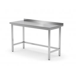 Table de travail renforcée avec dosseret sans étagère en inox POL-102