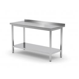 Table de travail avec dosseret et étagère en inox POL-103