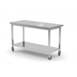 Table mobile avec étagère en inox POL-104