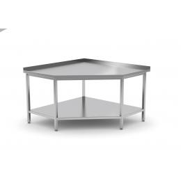 Table de travail d'angle avec dosseret et étagère en inox POL-105