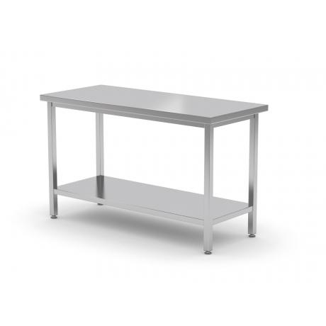 Table de travail centrale avec deux étagères en inox POL-112