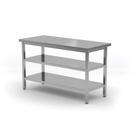 Table de travail centrale avec deux étagères en inox POL-112/2