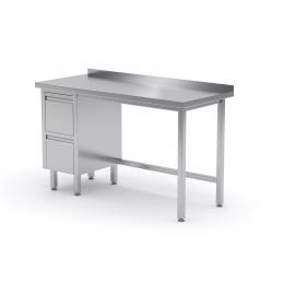 Table de travail avec dosseret, armoire à deux tiroirs en inox POL-123