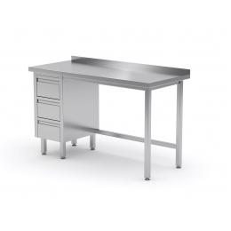 Table de travail avec dosseret, armoire à trois tiroirs en inox POL-123-3
