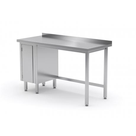 Table de travail avec dosseret, armoire avec porte battante en inox POL-124