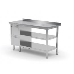 Table de travail avec dosseret, armoire avec deux tiroirs et deux étagères POL-125-L/2