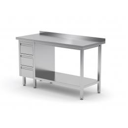 Table de travail avec dosseret, armoire avec trois tiroirs et tablette inférieure POL-125-3
