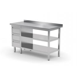 Table de travail avec dosseret, armoire avec trois tiroirs et deux étagères POL-125-3-2