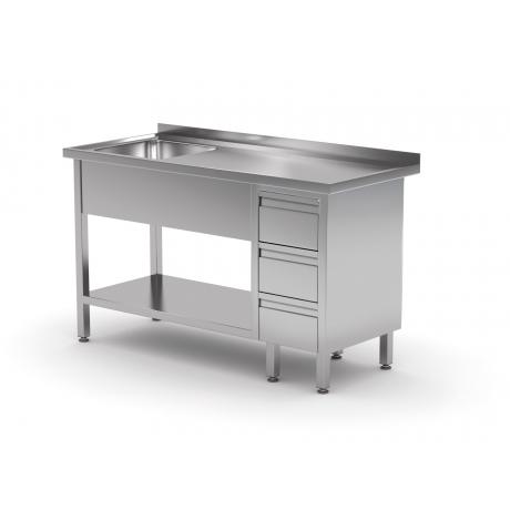 Table avec évier, étagère et trois tiroirs POL-215-3