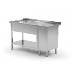 Table avec évier, étagère inférieure et armoire avec porte battante POL-216