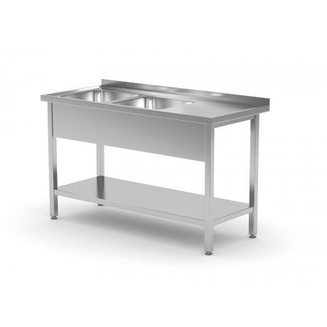 Table avec deux lavabos et étagère inférieure POL-222