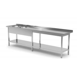 Table renforcée avec deux lavabos et étagère inférieure POL-222-6
