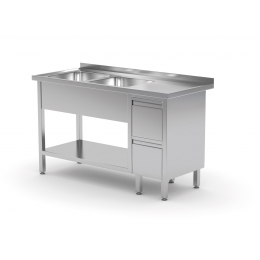 Table avec deux lavabos, étagère et meuble à deux tiroirs POL-225