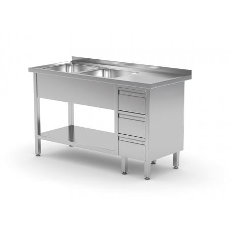 Table avec deux lavabos, étagère et meuble à trois tiroirs POL-225-3