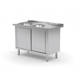 Table avec deux lavabos et armoire à portes coulissantes POL-227 L/P