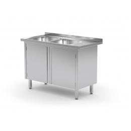 Table avec deux lavabos et armoire à portes battantes POL-228 L/P