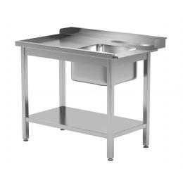 Table de chargement pour lave-vaisselle avec évier et tablette inférieure POL-238
