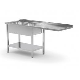 Table avec deux éviers, étagère inférieure et espace pour réfrigérateur ou lave-vaisselle POL-241