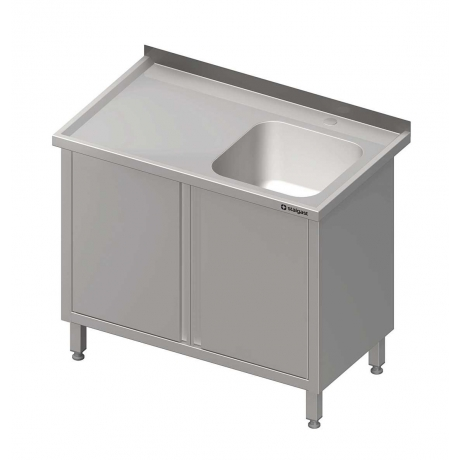 Table inox à dosseret avec 1 évier et portes battantes
