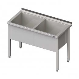 Table inox avec 2 bacs d'évier