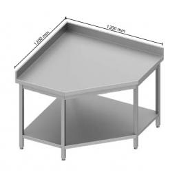 Table adossée en angle avec étagère h900