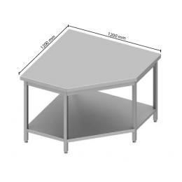 Table centrale en angle avec étagère h900
