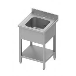 Table adossée avec cuve et étagère