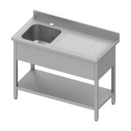 Table adossée avec cuve à gauche et étagère