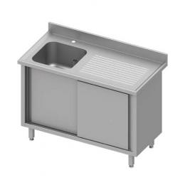 Table inox adossée avec une cuve à gauche et portes coulissantes