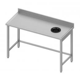 Table adossée avec trou vide-ordures sur le côté droit
