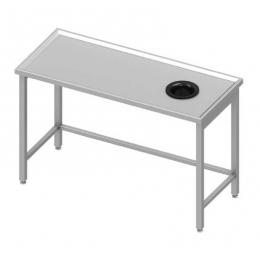 Table centrale avec trou vide-ordures sur le côté droit