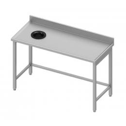 Table adossée avec trou vide-ordures sur le côté gauche