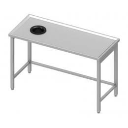 Table centrale avec trou vide-ordures sur le côté gauche