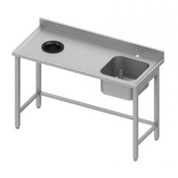 Table adossée avec cuve à droite et trou vide-ordures à gauche