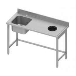 Table adossée avec cuve à gauche et trou vide-ordures à droite