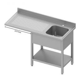 Table adossée avec cuve et passage pour réfrigérateur ou lave-vaisselle