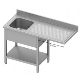 Table adossée avec cuve à gauche et passage pour réfrigérateur ou lave-vaisselle