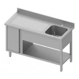 Table adossée avec cuve à droite + placard et étagère