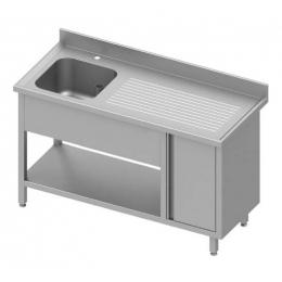 Table adossée avec cuve à gauche + placard et étagère