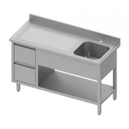 Table adossée avec cuve à droite + deux tiroirs et étagère