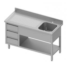 Table adossée avec cuve à droite + trois tiroirs et étagère