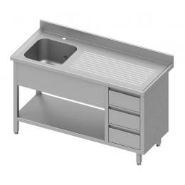 Table adossée avec cuve à gauche + trois tiroirs et étagère