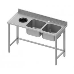 Table adossée avec double cuves à droite et trou vide-ordures