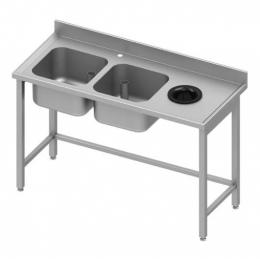 Table adossée avec double cuves à gauche et trou vide-ordures