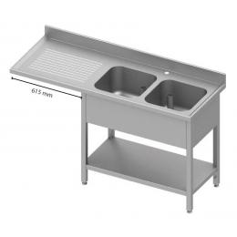 Table adossée avec double cuves à droite et passage pour réfrigérateur ou lave-vaisselle