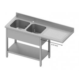 Table adossée avec double cuves à gauche et passage pour réfrigérateur ou lave-vaisselle