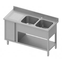 Table adossée avec double cuves à droite + placard et étagère