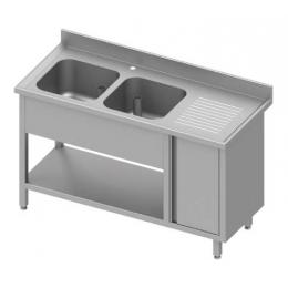 Table adossée avec double cuves à gauche + placard et étagère