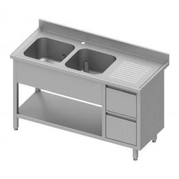 Table adossée avec double cuves à gauche + meuble à deux tiroirs et étagère